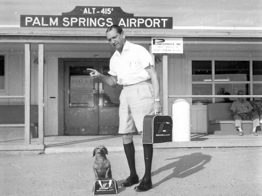 Roy Randolph at Palm Springs Airport c. 1948.