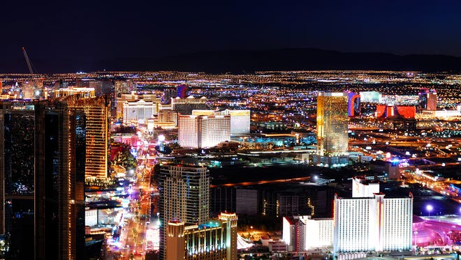 Las Vegas strip panorama at night.