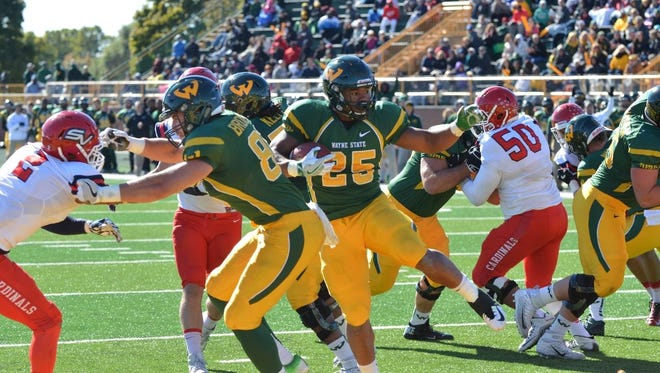 """Wayne State football running back Romello Brown scored three rushing touchdowns in a 42-14 win over Saginaw Valley State on Saturday, Oct. 22, 2016. The Warriors visit Ferris State this week. """"It's going to be big,"""" Brown said."""