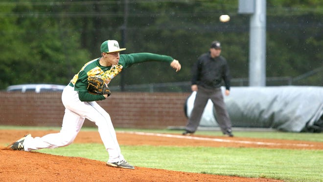 Reynolds' Kyle Cagle pitches Thursday night in Weaverville.
