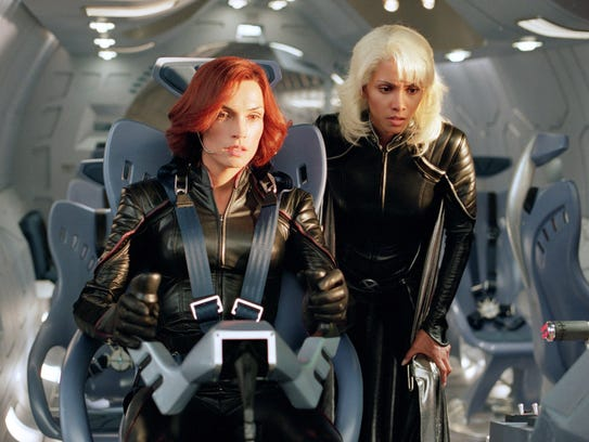 Jean Grey (Famke Janssen, left) and Storm (Halle Berry)
