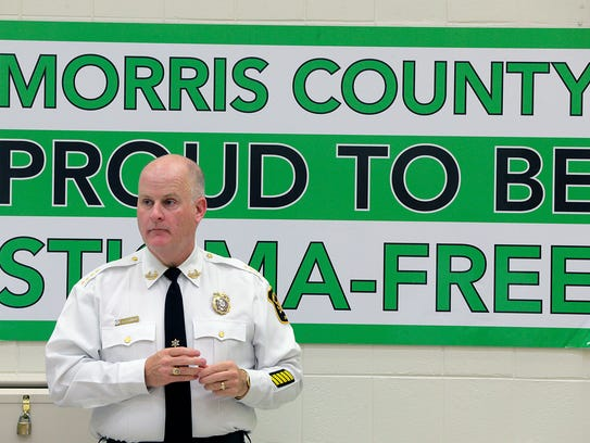 Morris County Sheriff James Gannon speaks during a