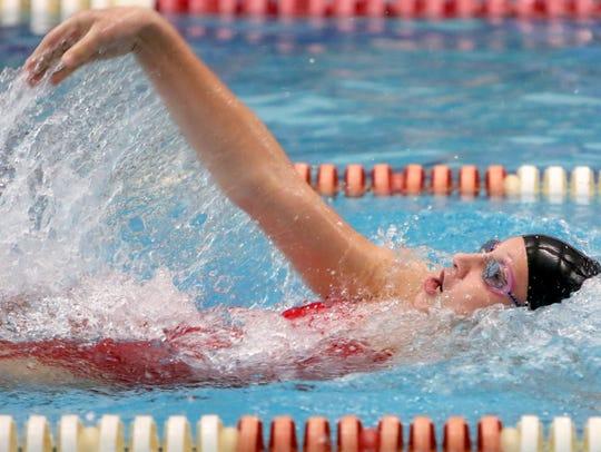 Arrowhead's Emmaleigh Zietlow swims the backstroke