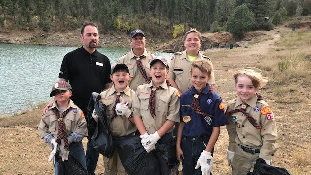 Members of the Webelo Den of Ruidoso's Cub Scout pack 59 performed a trial run for the upcoming Leep Ruidoso Beautiful cleanup by picking up trash around Grindstone Lake. From left in back are Gabriel Epply, Samuel Mize, Jacob Bell. In front from left are Dylan Mercer, William Sutton, Brayden Mize, Elijah Bradburn and Jude Gochenour, Not pictured are Brendan Gochenour, Jamie Cox, Pat Pillar, and Michelle, Ebin and Emmalee Bradburn.