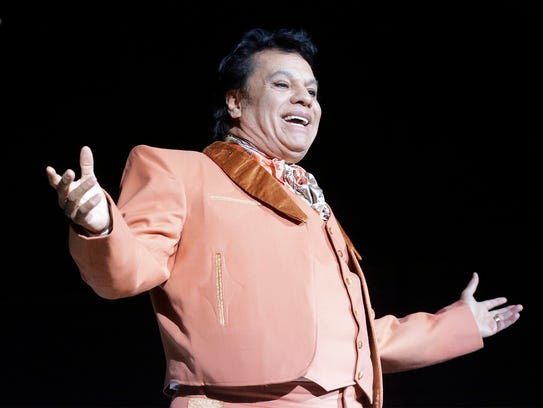 Legendary Mexican singer Juan Gabriel is shown performing