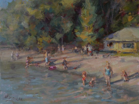 "A Plein Air painting called ""sun dipped"" by Lori Beringer."