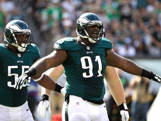 In this Sunday, Sept. 11, 2016, photo, Philadelphia Eagles' Fletcher Cox reacts after a tackle during the second half of an NFL football game against the Cleveland Browns in Philadelphia. The Eagles have only six sacks in the past five games after recording 20 in the first six. Defensive tackle Cox has four sacks and none in the past seven games. (AP Photo/Matt Rourke)