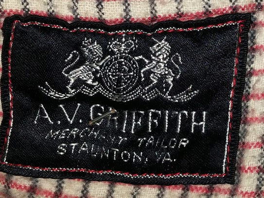 A.V. Griffith label found inside of a riding jacket