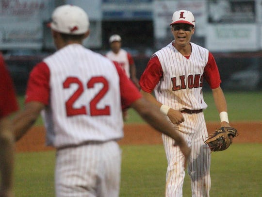 Leon's True Fontenot reacts to the Lions' 2-1 win over