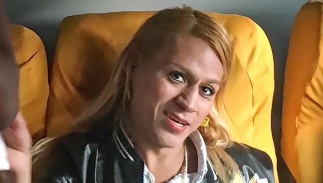 Transgender migrants from Central America, including Roxana Hernandez, center, head April 9, 2018, for Mexico City. Hernandez, 33, died in the custody of Immigration and Customs Enforcement at a hospital in Albuquerque, New Mexico.