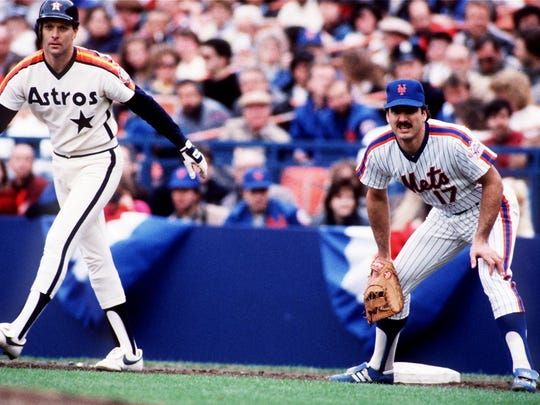 FILE - Oct. 11, 1986 at Shea Stadium in Flushing,  N.Y., for Mets and Astros playoffs, Game 3. Keith Hernandez stays on the bag at first looking for a pick-off.
