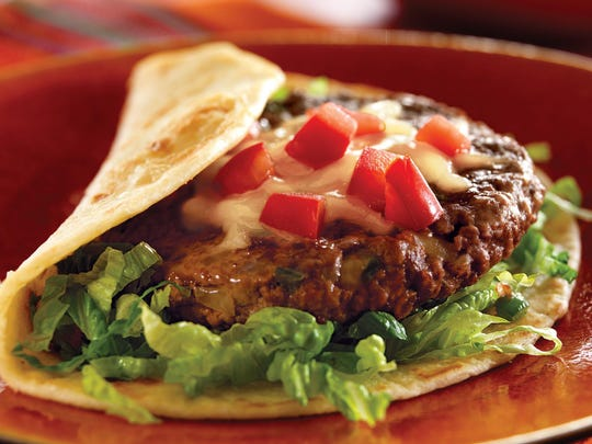 Fiesta burger patties incorporate, among other things, jalapeños and queso Chihuahua.