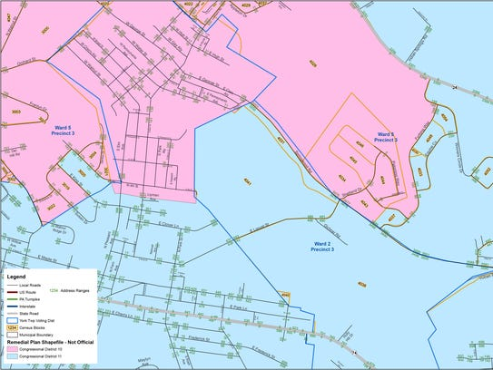 York Township is divided into congressional districts