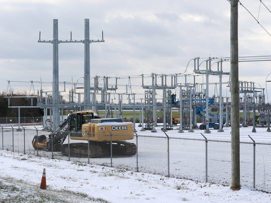 Workers prepare the Townsend substation for the addition of a second 138,000 volt source to the substation.