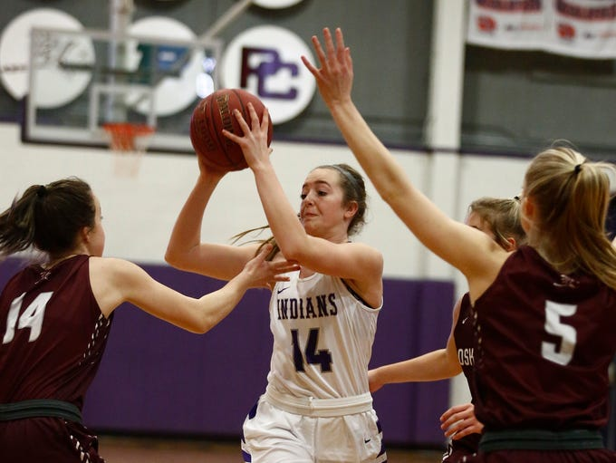 Indianola freshman Lauren Blake looks to pass. Indianola