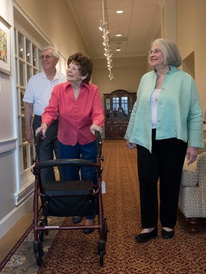 Lois and Richard Jones with Lois' mother, Madge Wertzberger, middle, at Granite Farms Estates, an Acts Retirement Community in Media, Pa. More people over the age of 70 are moving to the same community as their elderly parents.