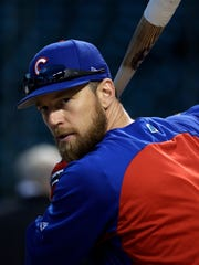 FILE - In this Oct. 18, 2017, file photo, Chicago Cubs'