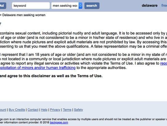 A screenshot of a disclaimer on Backpage.com.