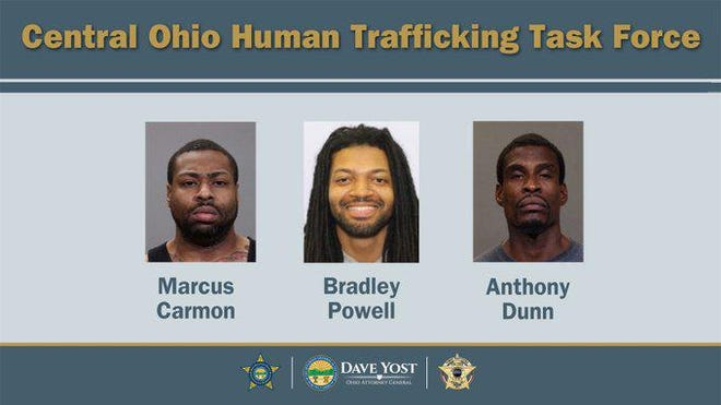 Photos of the three defendants indicted by a Franklin County grand jury, accused of human trafficking addicted women for prostitution.