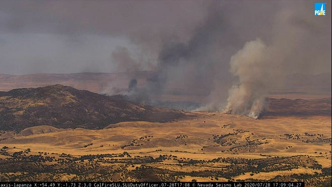 PG&E webcam in La Panza area show fire burning in California Valley late Tuesday afternoon