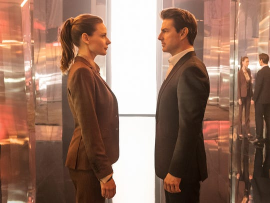 "Rebecca Ferguson and Tom Cruise star in ""Mission: Impossible"