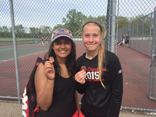 Churchill singles players Kaitlyn Rogosch (right) and Triveni Arvikar placed first and second, respectively, at No. 1 and No. 2 singles.