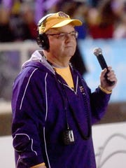 Marty Johnson works the sideline at Byrd games.
