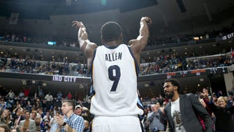 Memphis Grizzlies Tony Allen gives a salute to the crowd as he comes out of the game Saturday against the Golden State Warriors.