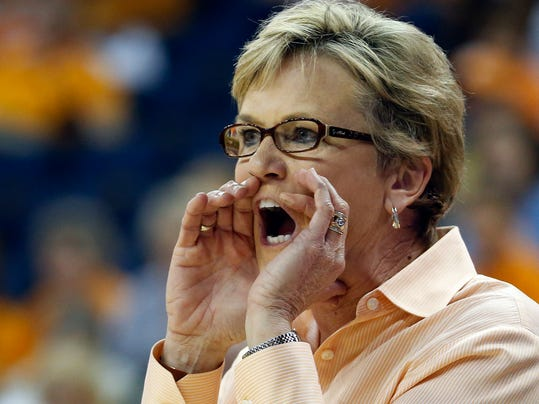 FILE - In this March 9, 2014 file photo, Tennessee head coach Holly Warlick yells from the bench in the first half of an NCAA college basketball game against  Kentucky in the finals of the Southeastern Conference women's tournament in Duluth, Ga. Warlick wants a tougher team in the belief that will prevent the Lady Vols from peaking too early again as they chase their first Final Four appearance since their 2008 national championship.(AP Photo/John Bazemore, File)
