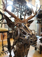 Just before deer season, Shaeffer made a deer head out of old wrenches and other scraps.
