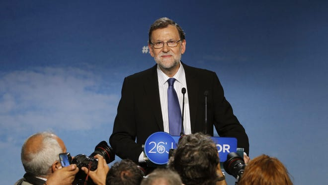 Acting Spanish Prime Minister Mariano Rajoy speaks at a press conference at the end of the meeting of the ruling Popular Party's (PP) executive committee, one day after general elections, in Madrid, Spain, on June 27, 2016.
