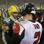 Aaron Rodgers and the Packers held on for a 43-37 win against Matt Ryan and the Falcons in their last meeting Dec. 8, 2014.