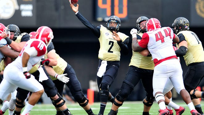 Vanderbilt quarterback Johnny McCrary (2) throws the ball downfield during the third quarter against Austin Peay on Sept. 19, 2015.