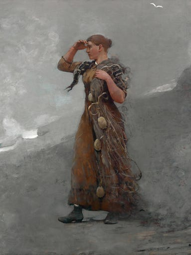 """""""The Fisher Girl"""" (1894), an oil painting by Winslow"""