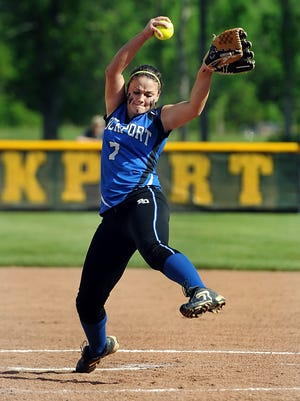 Brockport's Julia DiMartino, shown here pitching last spring, is expected to be back playing softball in late July or early August.