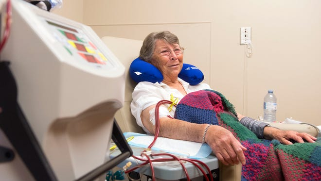 Annie Nicely undergoes dialysis at Fresenius Kidney Care Knoxville Home Dialysis Therapies at Ailor Ave. on Wednesday, March 29, 2017. Nicely usually receives her dialysis treatment at home, but agreed to demonstrate the use of her home dialysis device for Fresenius' open house celebration on Wednesday.