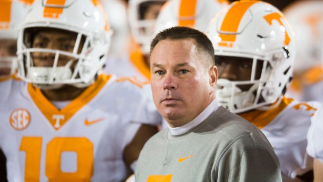 Tennessee Head Coach Butch Jones waits to run onto the field before a game between Tennessee and Missouri at Faurot Field in Columbia, Missouri, on Saturday November 11, 2017.