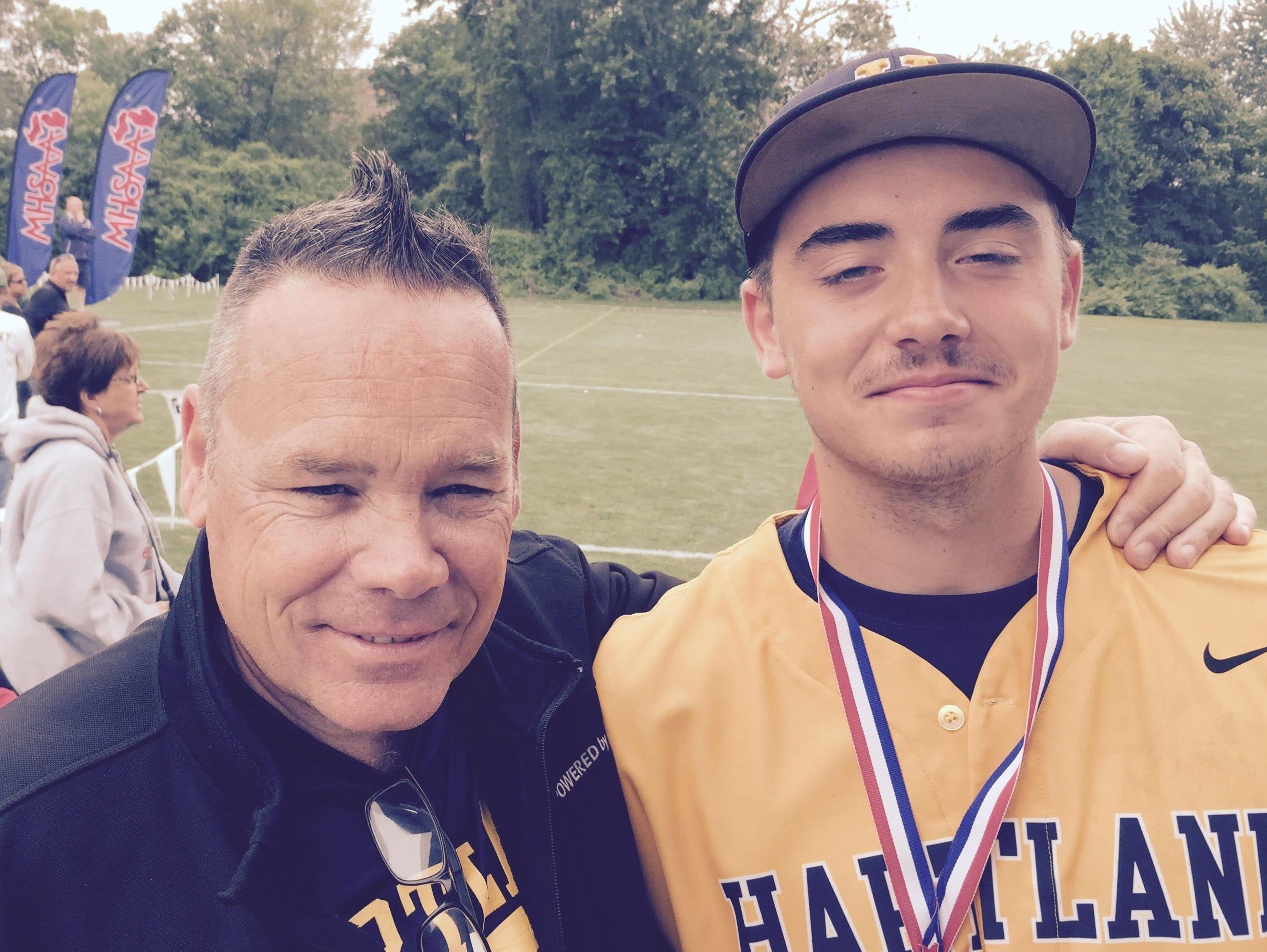 Hartland's John Baker, right, tossed a masterful 10-inning, five-hitter in a 2-1 win over Portage Northern in Division 1 last year.