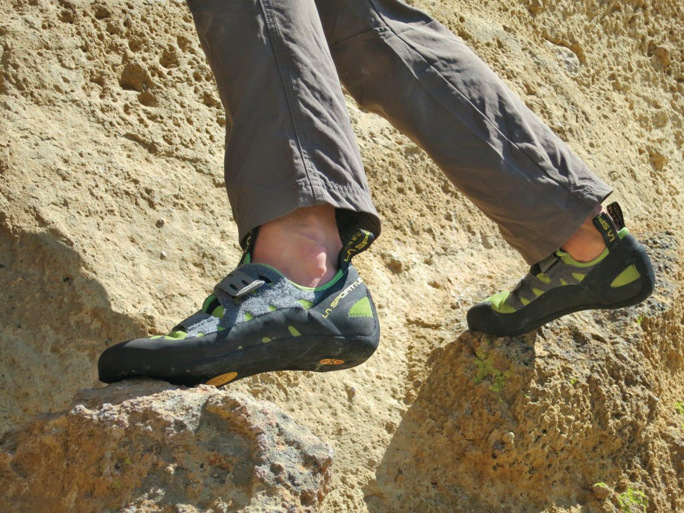 Climbing shoes made by La Sportiva.