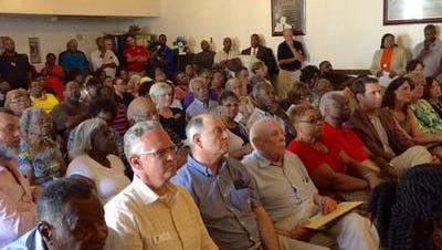 This June 29, 2016 photo shows a packed meeting room at St. Paul AME Zion Church in Salisbury where more than 100 stakeholders gathered to hear about a financial shortfall that threatened to close the Richard Hazel Youth Center operated by the Salvation Army. The Salvation Army has announced that despite the shortfall, the Hazel center would operate for the 2016 winter after-school session.