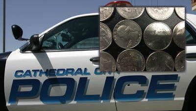 A Cathedral City burglar who allegedly stole more than $3,400 in quarters in five separate laundry room burglaries has been identified through fingerprintrecords and arrested, police say.