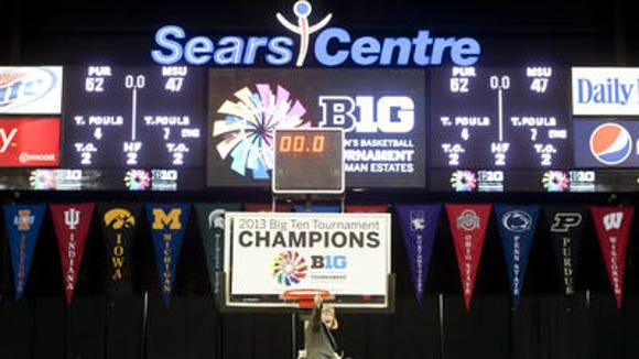 Versyp celebrates Purdue's 2013 Big Ten tournament championship at Hoffman Estates, Ill.