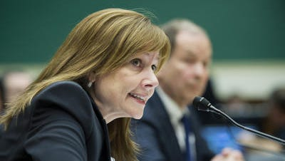FILE - In this June 18, 2014 file photo, General Motors CEO Mary Barra testifies on Capitol Hill in Washington. Recall costs chopped $1.5 billion from General Motors' bottom line in the second quarter, cutting its net income by 85 percent.