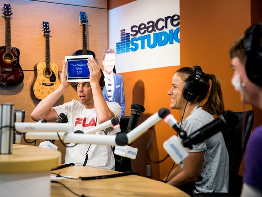 Sam Querrey plays Heads Up! at the Seacrest Studios