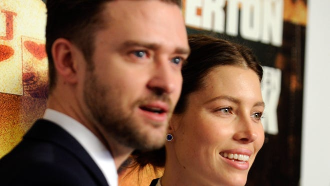 Singer/actor Justin Timberlake and his wife, actress Jessica Biel, pictured on September 18, 2013 in Las Vegas, Nevada.