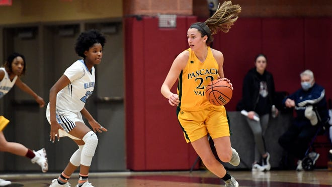 Pascack Valley's Kelly Petro (22).  Pascack Valley defeated Immaculate Conception 53-25 in the Bergen County girls basketball semi finals in Mahwah, NJ on Sunday, February 11, 2018.
