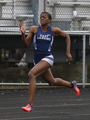 East Lansing's Taylor Manson, shown winning at the Division 1 regional May 20 in Holt, is named the State Journal's track and field athlete of the year after a record-setting junior season with the Trojans.