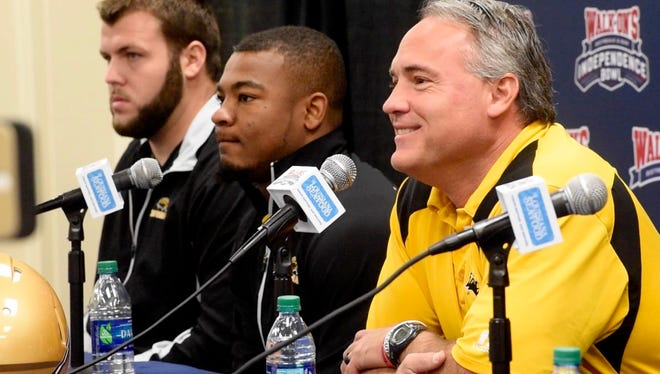 USM coach Jay Hopson during the I-Bowl pregame press conference at the Independence Stadium Media Room.