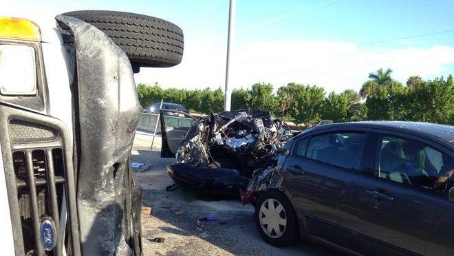 A four-vehicle crash shut down the eastbound lanes on the Midpoint Bridge between Cape Coral and Fort Myers