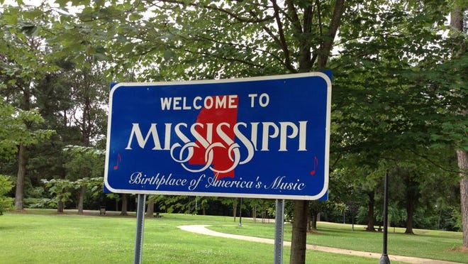 Welcome to Mississippi. The sign greets visitors to the state, and people who are relocating their families here.